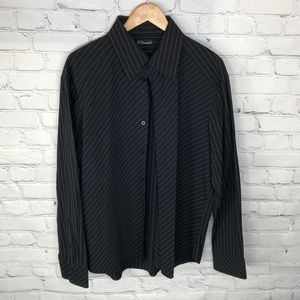 7 Diamonds Black White Ribbed Dress Shirt sz XXL